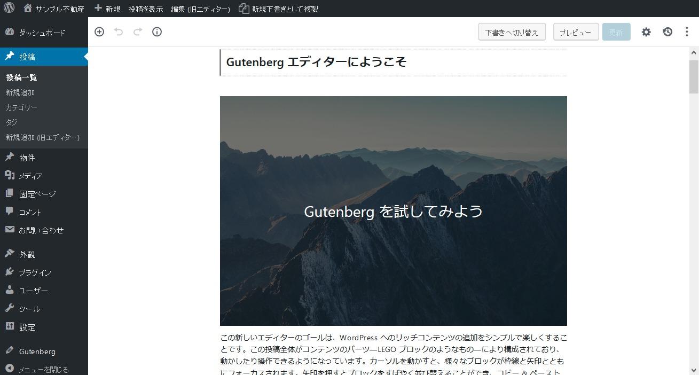 Gutenberg 編集画面(対応済)