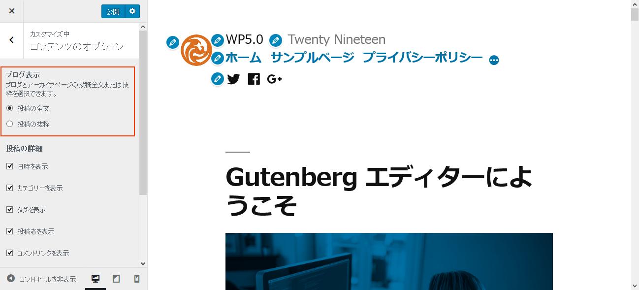 Twenty Nineteen カスタマイザー