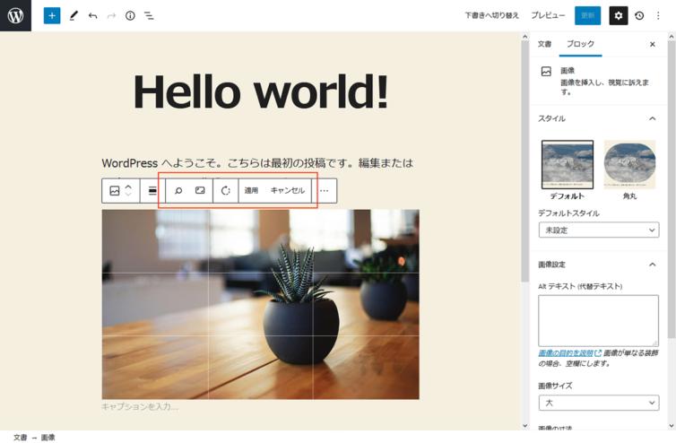 WordPress5.5 画像編集モード メニュー