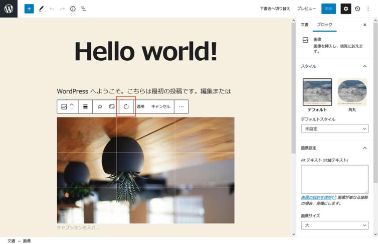 WordPress5.5 画像編集 画像回転