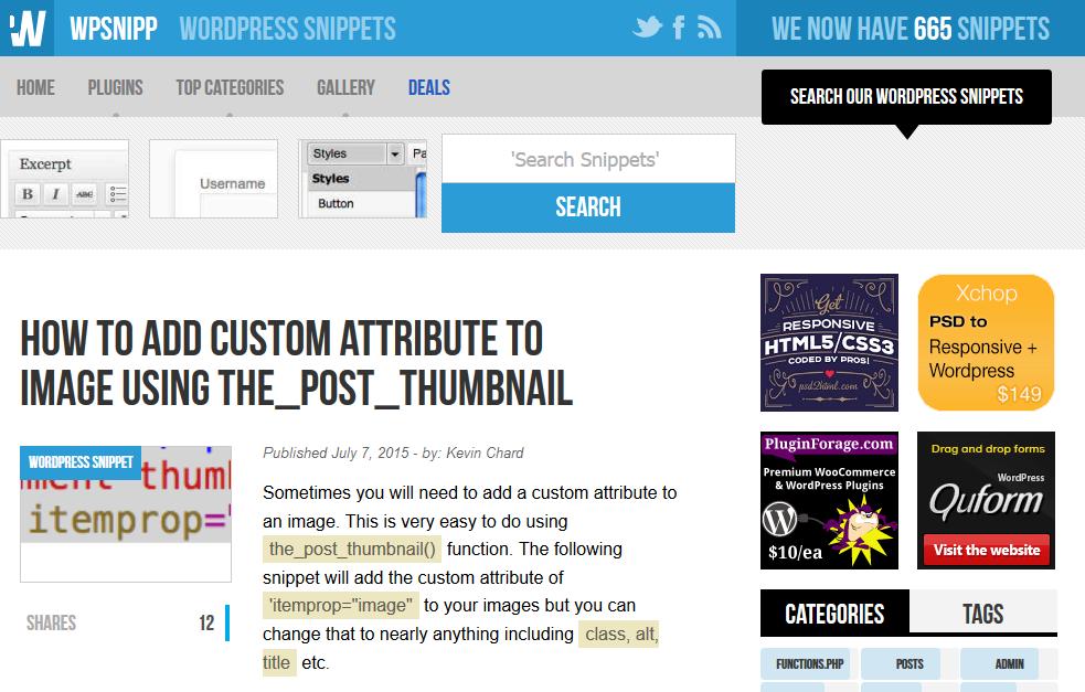 WordPressのチュートリアルやスニペットサイト
